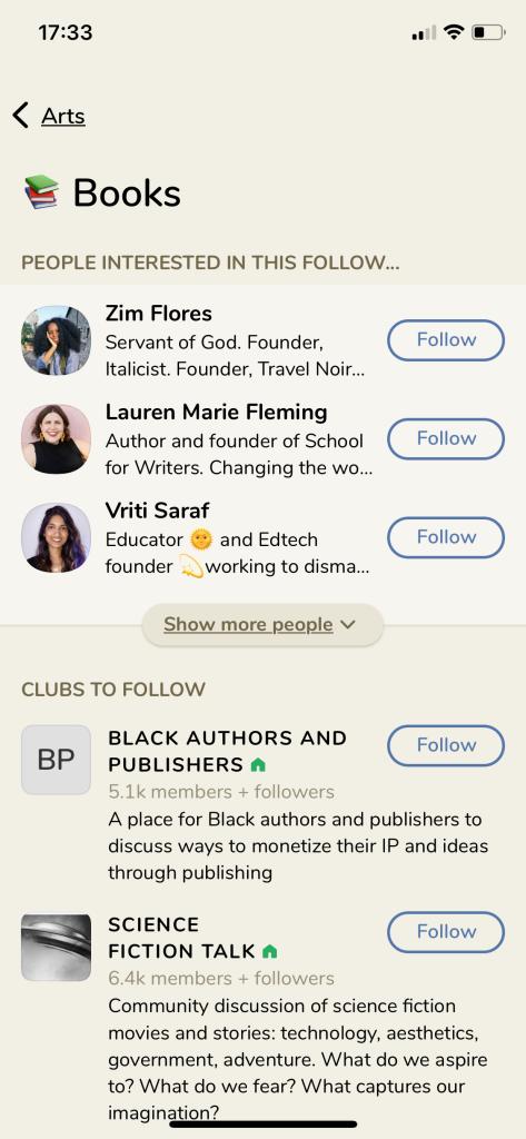 schermata clubhouse relativo ai libri